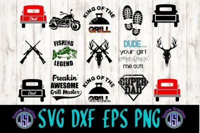 Father's Day Bundle SET of 14 SVG DXF EPS PNG Digital Download