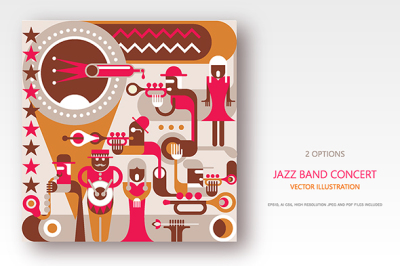Jazz Band concert retro style vector illustrations