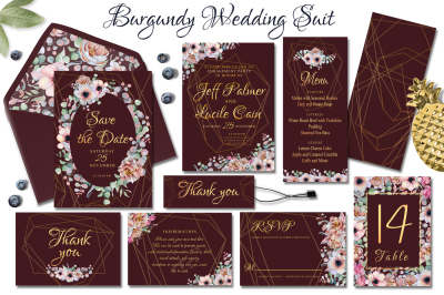 Burgundy watercolor floral & gold geometric wedding suit