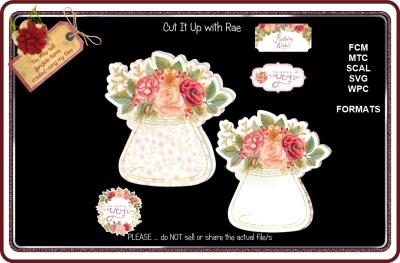 978 Floral Jar Shaped Card JPG Printables, ScanNCut