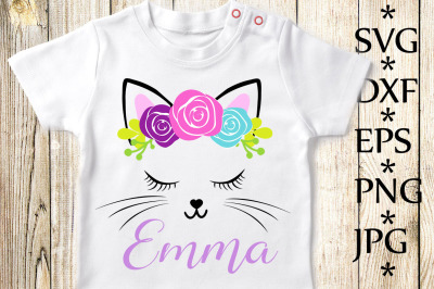 Cat face Svg,Cute Cat Svg,Girl T shirt Svg,Birthday Girl Svg