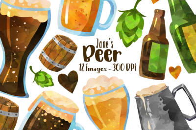 Watercolor Beer Clipart