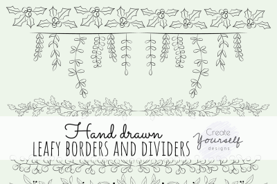 Hand drawn dividers set - doodle borders clipart, divider elements