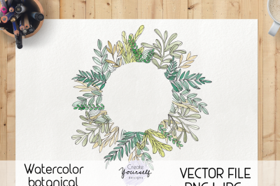 Watercolor botanical frame - hand painted wreath frame clipart