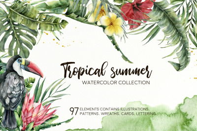 Tropical summer. Watercolor clip art