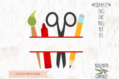 Back to school split monogram frame SVG, PNG, EPS, DXF, PDF for cricut