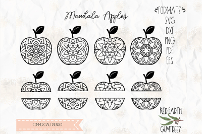 Mandala apples SVG, PNG, EPS, DXF, PDF for cricut, cameo