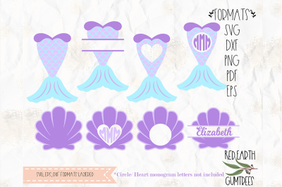 Mermaid tail and clam SVG, PNG, EPS, DXF, PDF for cricut, cameo
