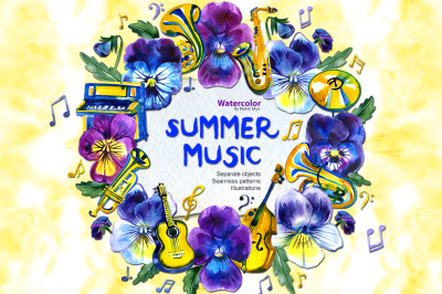 Watercolor big summer musical set
