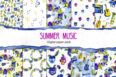 Summer music digital paper pack