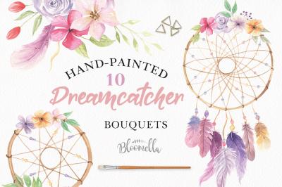 Dreamcatchers Watercolour Clipart Set Feathers Boho Florals Bohemian