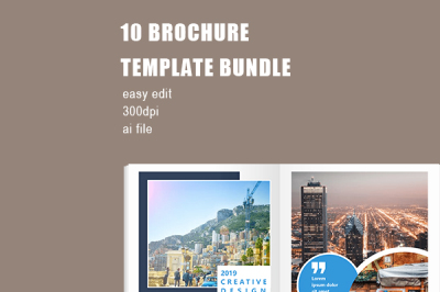 Modern Blue Company Brochure Template Bundle