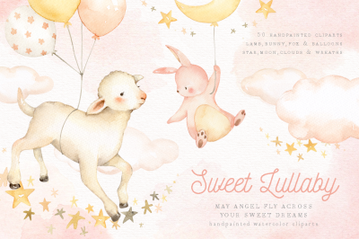 Sweet Lullaby Watercolor Clip Art