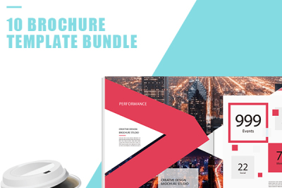 Professional Red Brochure Report Template Bundle