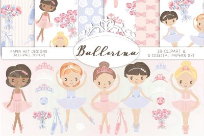 Ballerina Clipart and Digital Papers Set