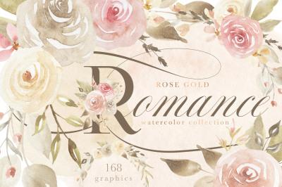 Rose Gold Romance Floral Watercolors