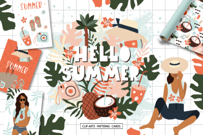 Summer in Hawaii -Clipart collection