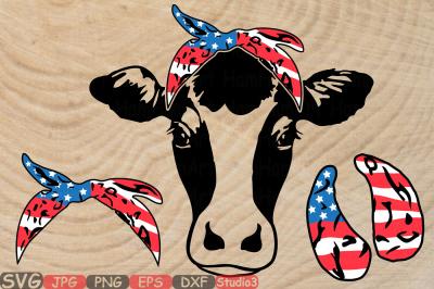 Cow USA Flag Bandana Silhouette SVG 4th July Farm Milk 836S