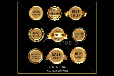 Gold Business Labels Vector