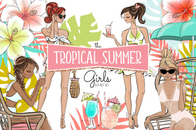 Tropical Summer Girls Clip Art