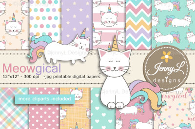 Caticorn Digital Papers, Cat Clipart, Unicorn Cat, KittyCorn