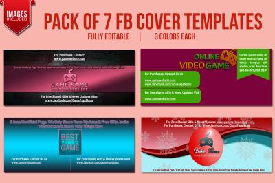 Pack of 7 FB Cover Templates