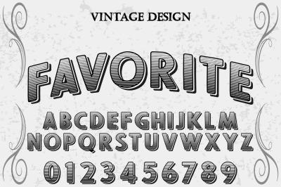 vintage alphabet Typeface handcrafted vector label design favorite