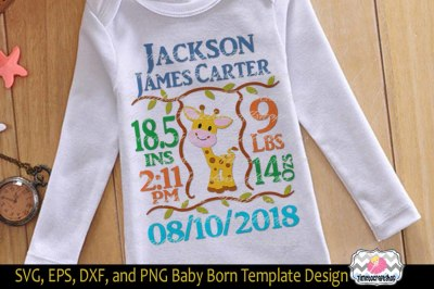 SVG, Dxf, Png & Eps Cutting Files Baby Birth Announcement Template