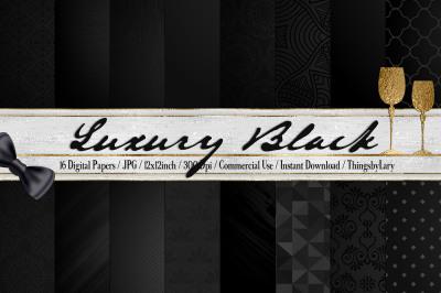 16 Black Luxury Pattern Digital Papers