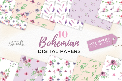 Watercolor Floral Patterns Bohemian Boho Digital Papers Purple Feather