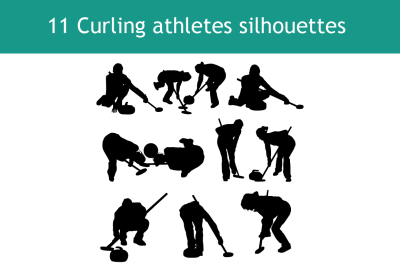 curling silhouette set
