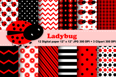 Ladybug Digital Paper, Flowers Backgroud, Bugs Pattern