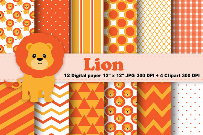 Lion Digital Paper, Jungle Background, Animals Pattern, zoo background