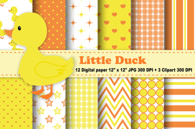 Duck Digital Paper, Chick Background, Duckling Pattern, Duck Clipart.