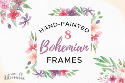 Watercolor Bohemian Frames Boho Floral Flower Borders Set