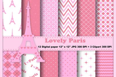 Paris Digital Paper, Eiffel Tower Background, Travel Background.