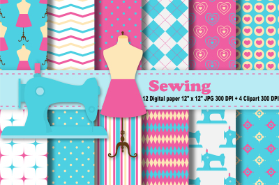 Sewing Digital Paper, Sewing Machine, Thread Background, Seamstress.