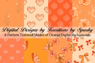 Shades of Orange Pattern Digital Background Papers