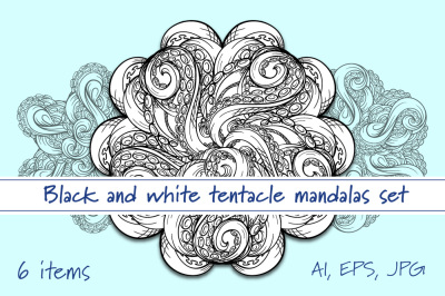 Black and white tentacle-mandalas set