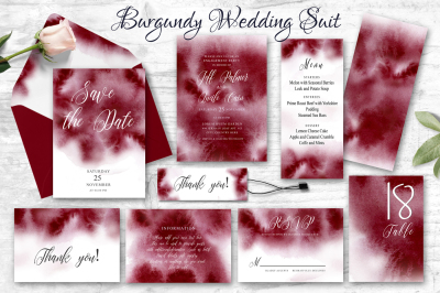 Burgundy Watercolor Wedding Invitation suite