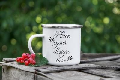 Camping mug enamel metal tin cup rustic camp mockup silver rim mock