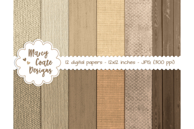 Burlap, Linen & Wood Digital Papers