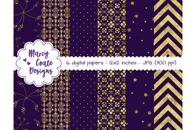 Purple & Gold Digital Papers