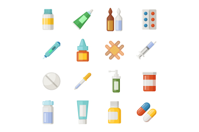 Vector icons set of medications. Drugs and pills