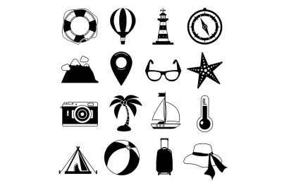 Summer time. Vector Black icon set