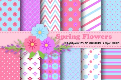 Flower Digital Paper, Spring Pattern, summer Pattern, Floral patterns.