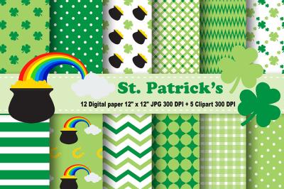 St. Patrick's Digital Paper, Leaves Background, Coins Pattern.