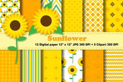 Sunflower Digital Paper, Floral Background, Flowers Pattern.