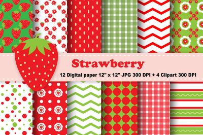Strawberry Digital Paper, Fruits Background, Flowers Pattern.