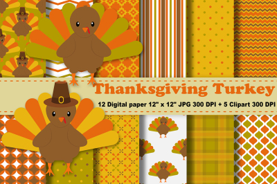 Thanksgiving Digital Paper, Thanksgiving Turkey Background, Fall.